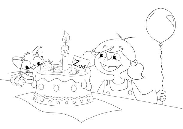 Coloriage Zoé goûter anniversaire