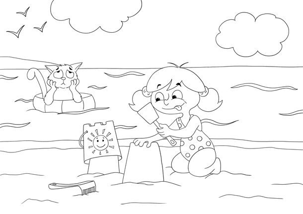 Coloriage Zoé à la plage