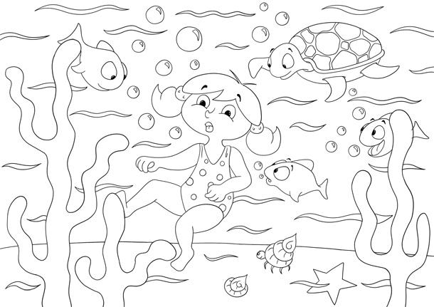Coloriage Zoé sous l'océan