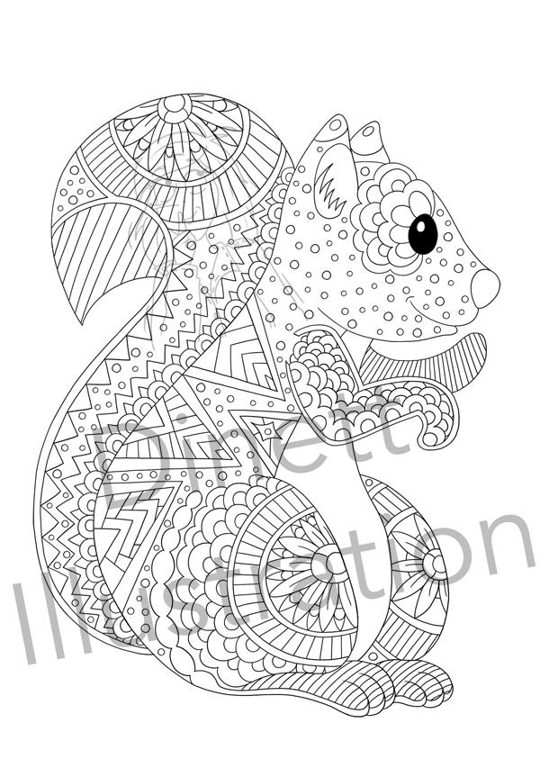 Coloriage anti-stress à imprimer l'écureuil