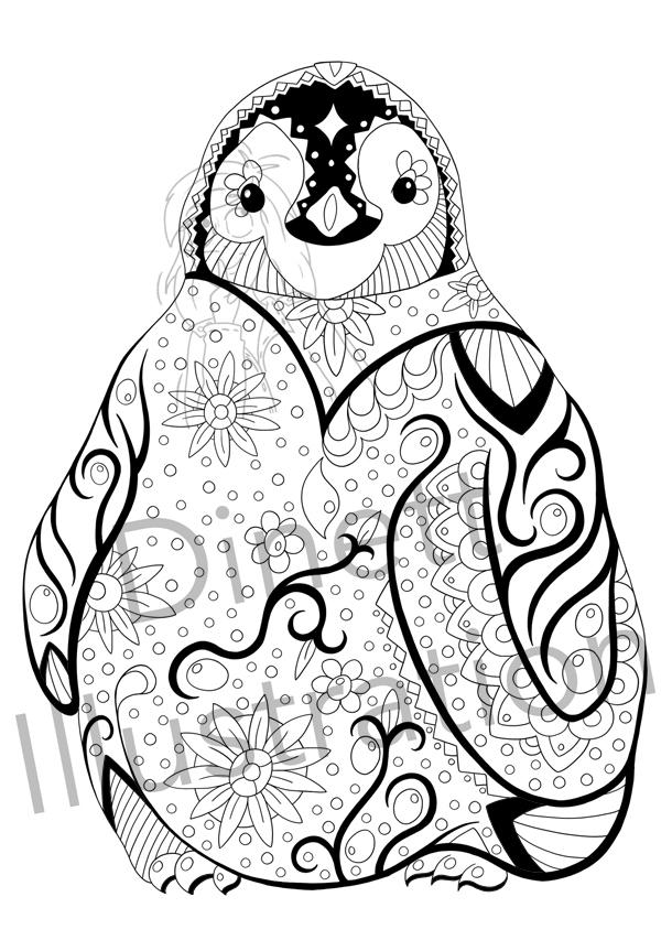 Coloriage anti-stress à imprimer le pingouin