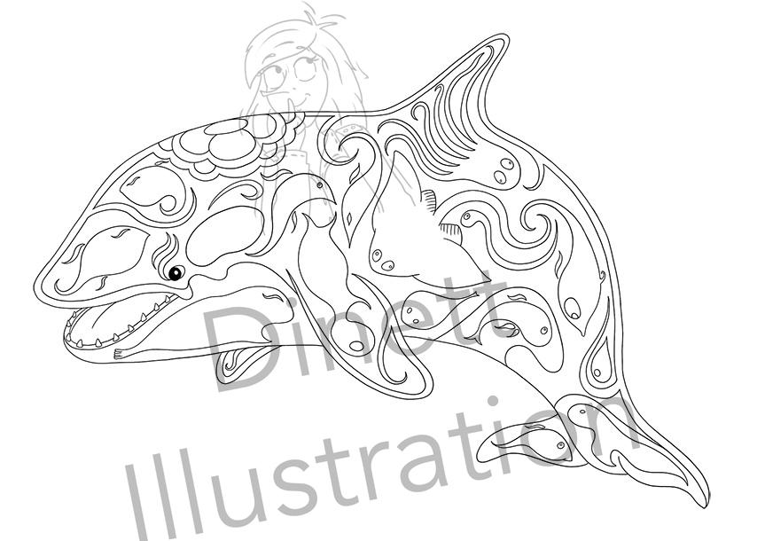 Coloriage anti-stress à imprimer l'orque