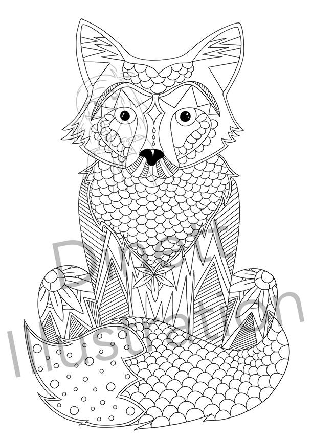 Coloriage anti-stress à imprimer le renard