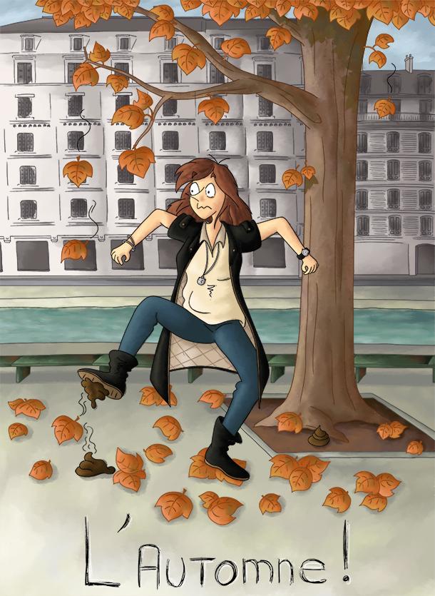 C'est l'automne les feuilles tombent à paris