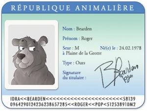 Carte d'identité Roger l'ours