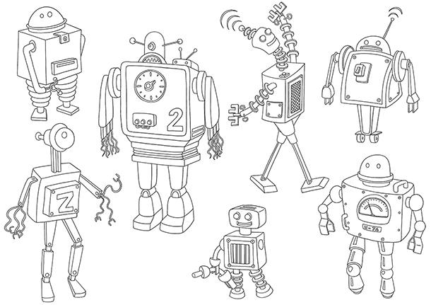 Coloriage à imprimer robots