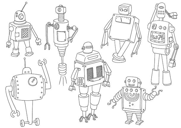 Coloriage à imprimer les robots