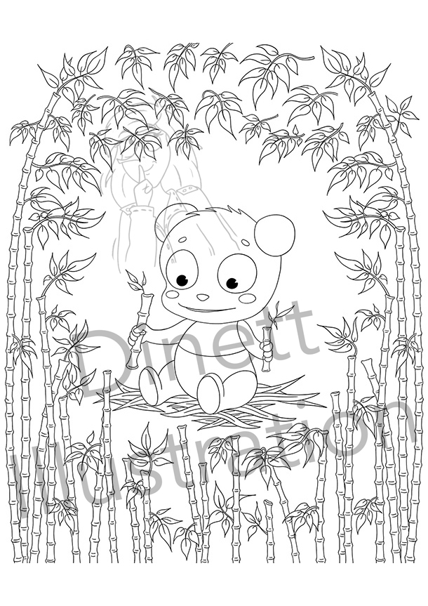Coloriage pour enfant : le panda