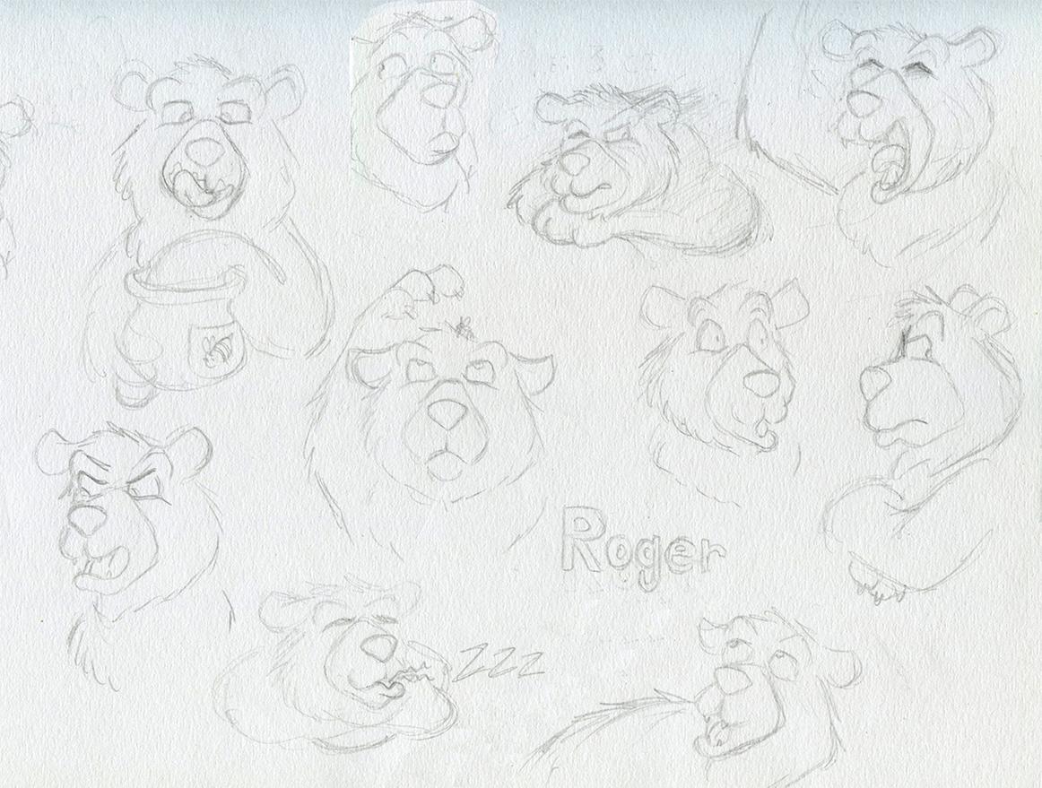 Planche de personnages Roger l'ours grognon