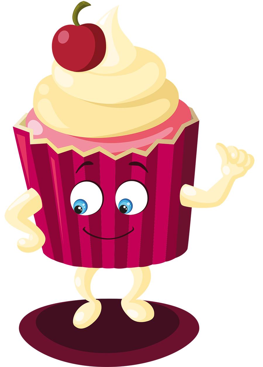 Vectoriel mascotte monsieur cup cake