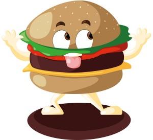 Illustration Vectorielle mascotte monsieur burger
