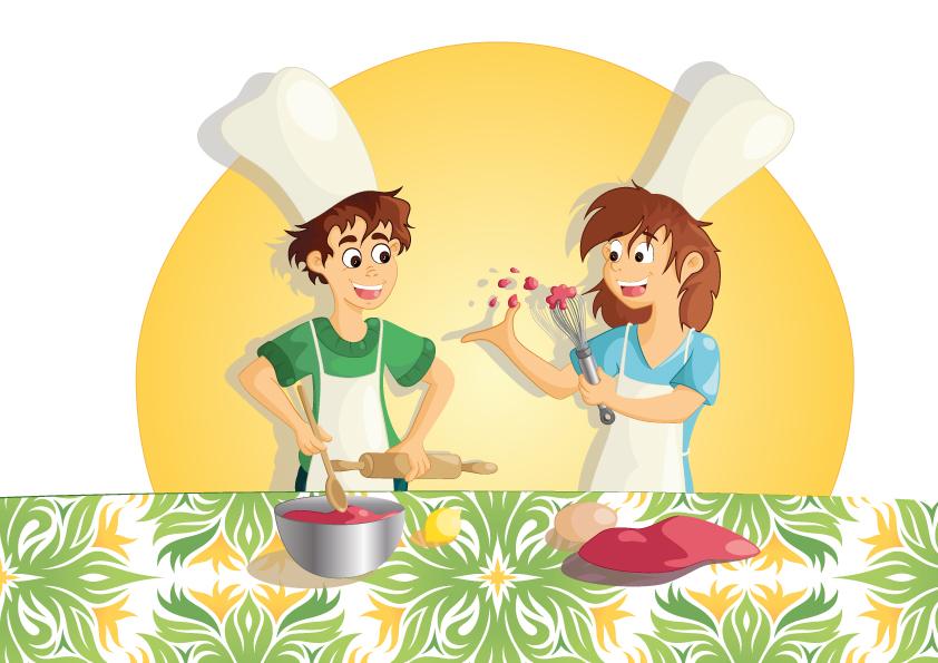 Illustration vectorielle les enfans font la cuisine