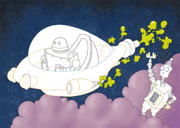 Coloriage à imprimer vaisseau spatial