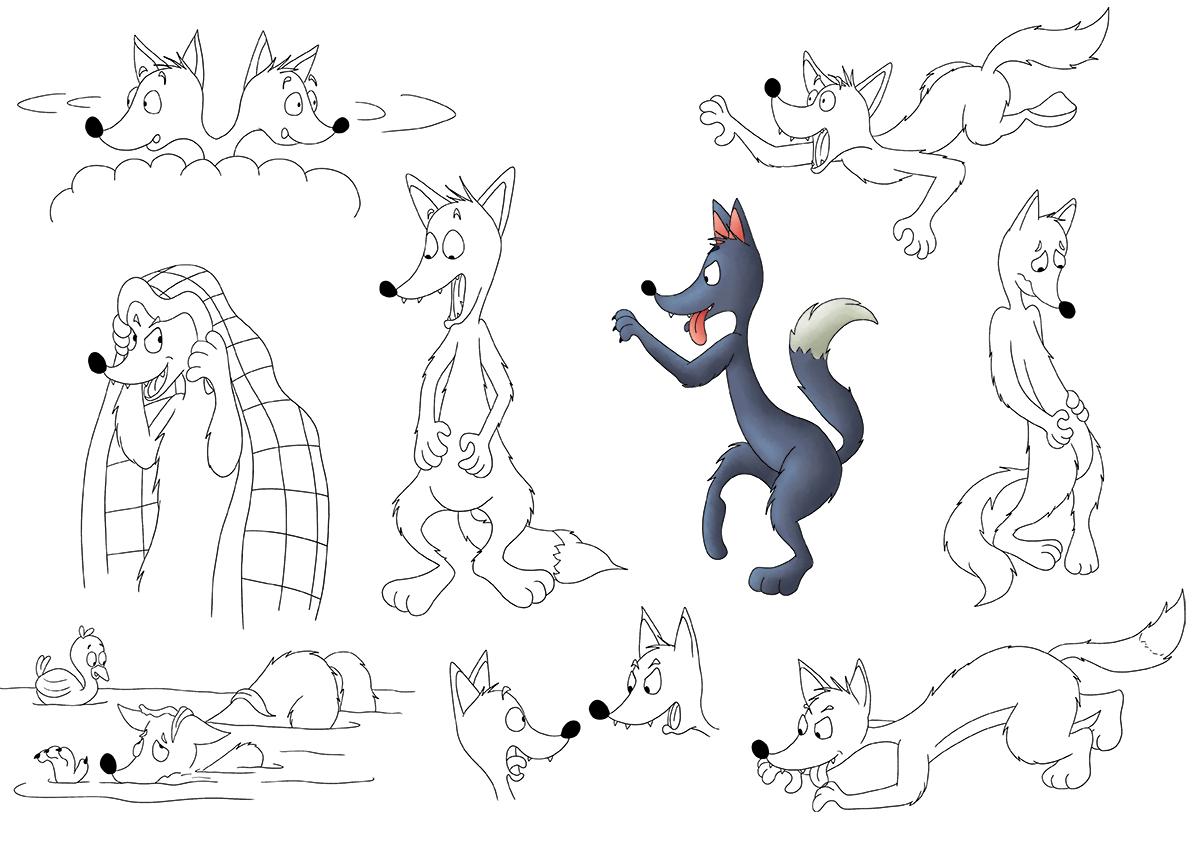 Character design recherches croquis le loup