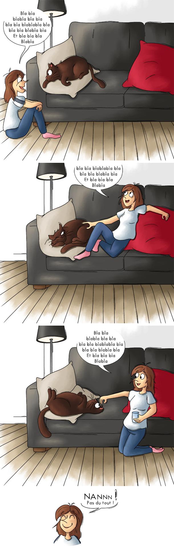 Parler toute seule, parler à son chat