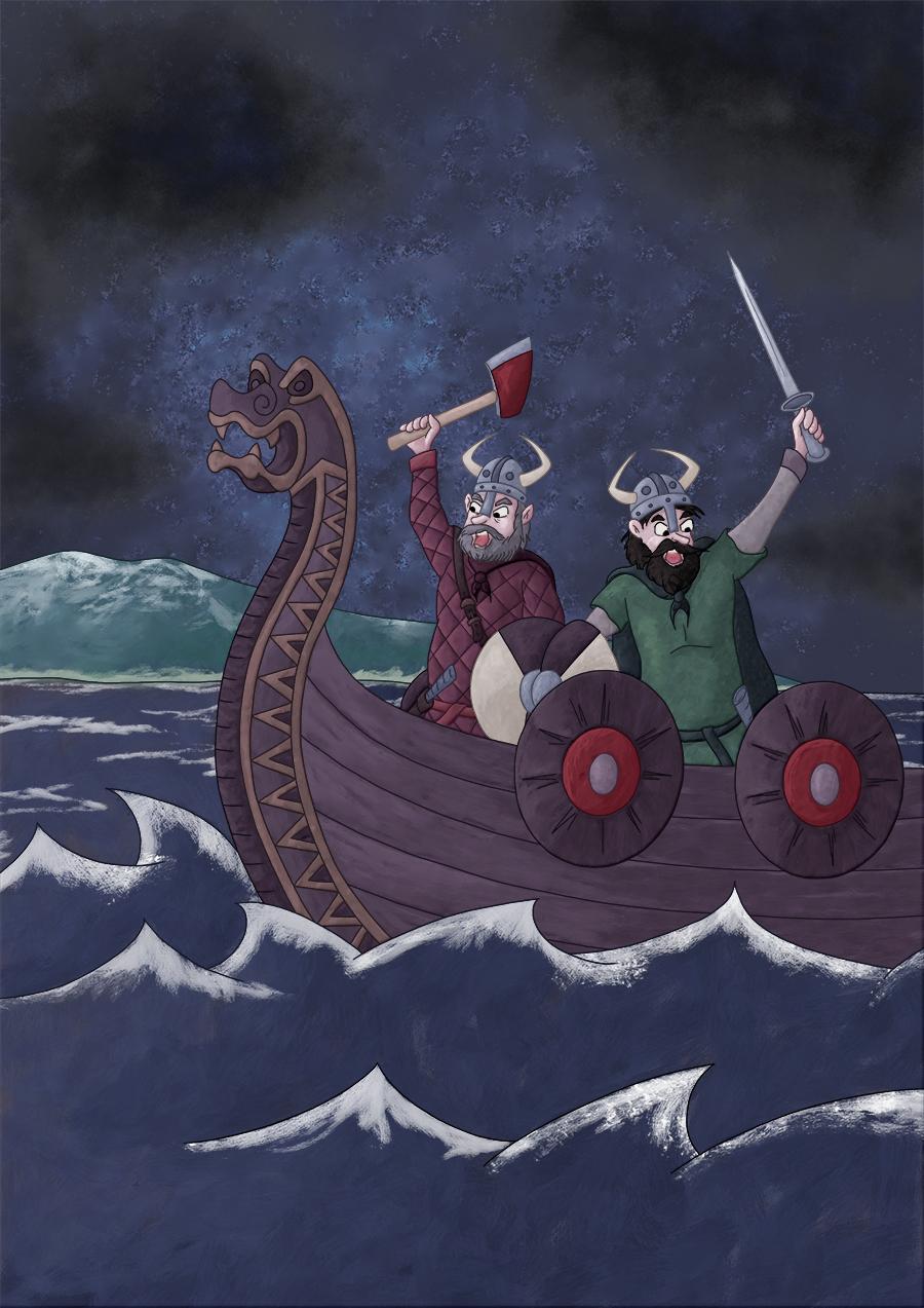 Illustration parascolaire les vikings débarquent drakkar