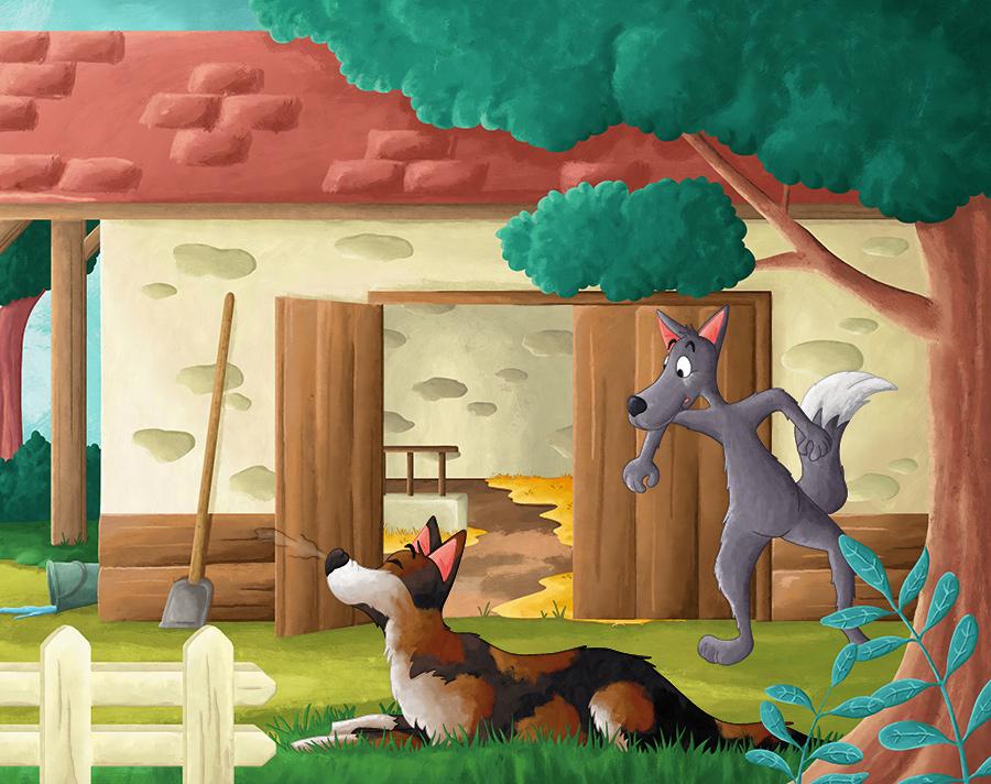 Projet d'album jeunesse le loup affamé et l'âne du fermier