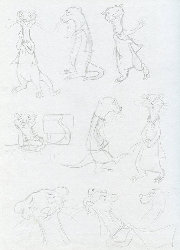 recherche de personnages au crayon gris loutre