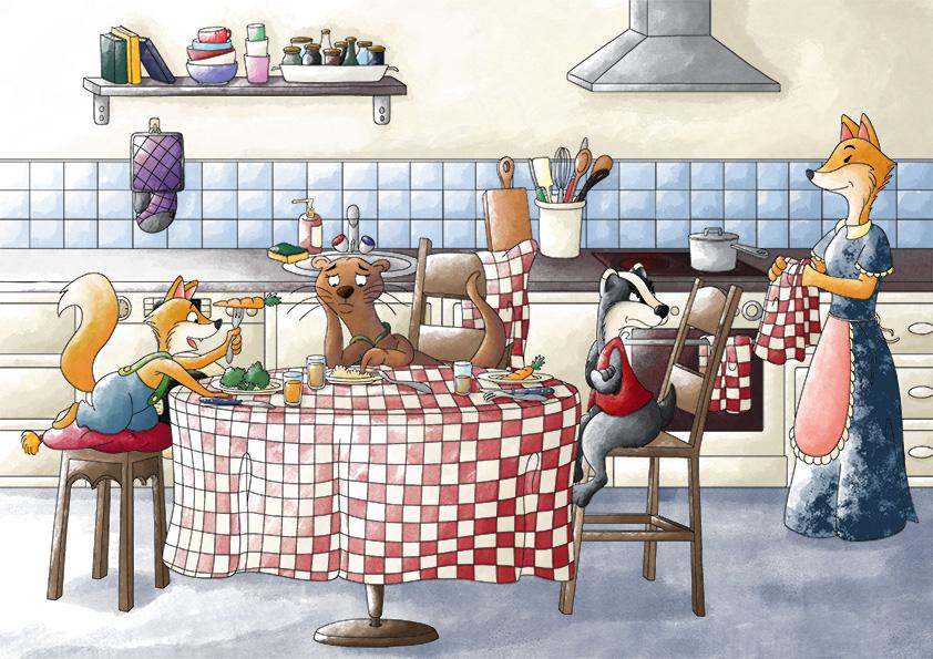 Illustration jeunesse un bon repas de famille