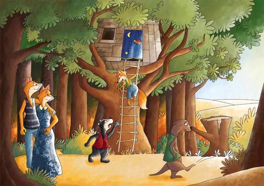 Illustration jeunesse famille joue en forêt