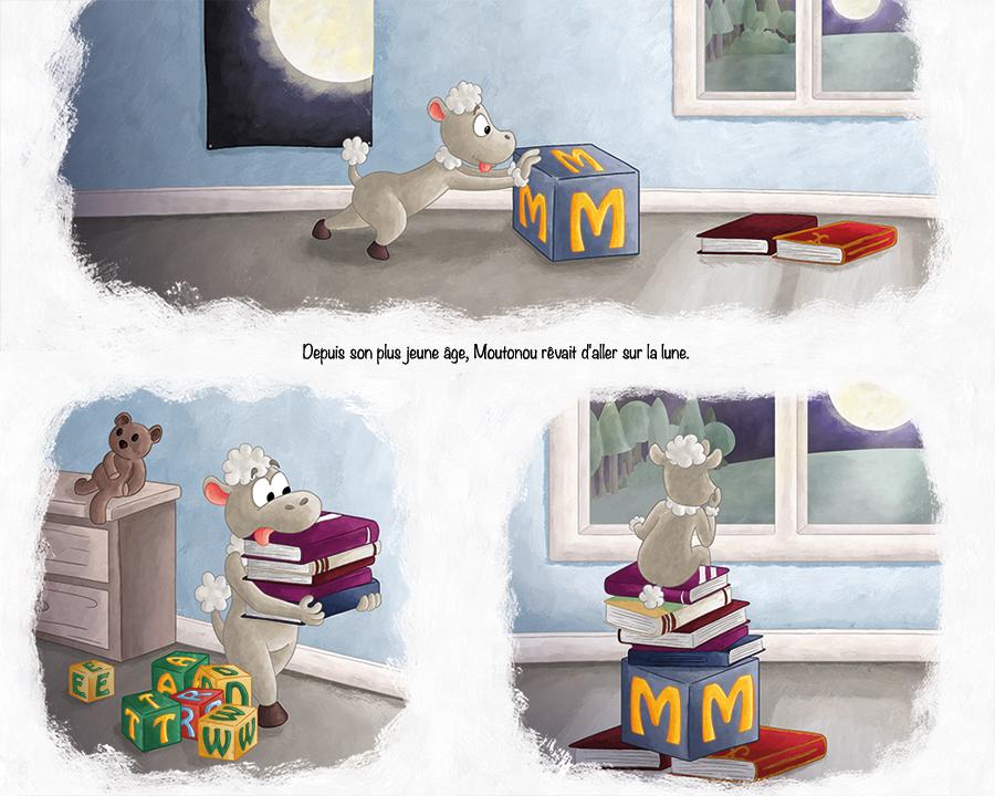 Illustration livre pour enfant les aventures de Moutonou le petit mouton