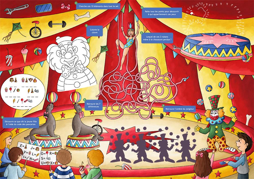 Set de table jeux pour enfant le cirque