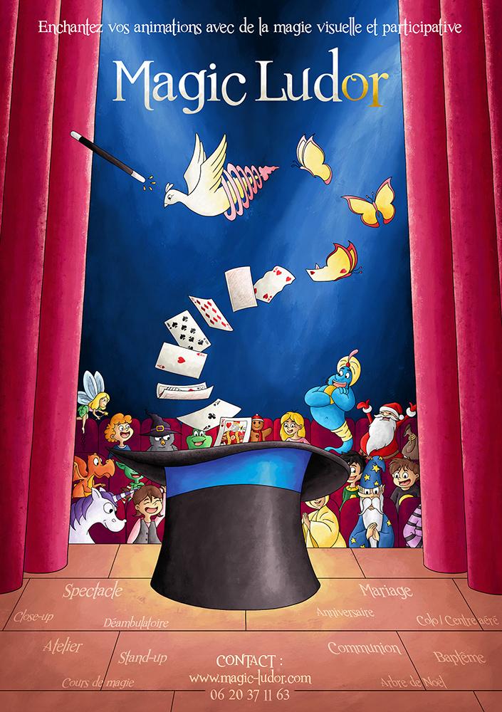 Commande flyer affiche magicien Magic Ludor