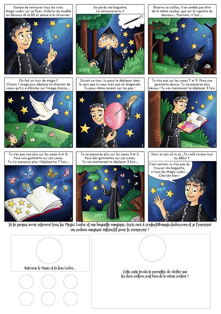 Verso de flyer magicien avec BD intéractive