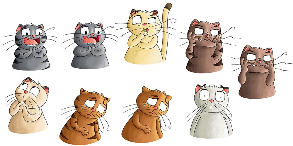 Recherches couleurs illustration gros chat