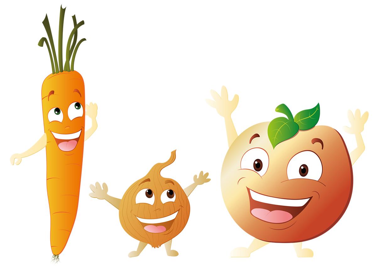 Mascotte vectorielle fruits et légumes