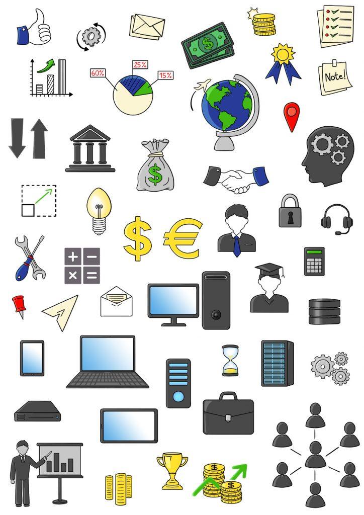 illustrations pour des pictogrammes sur le monde du travail