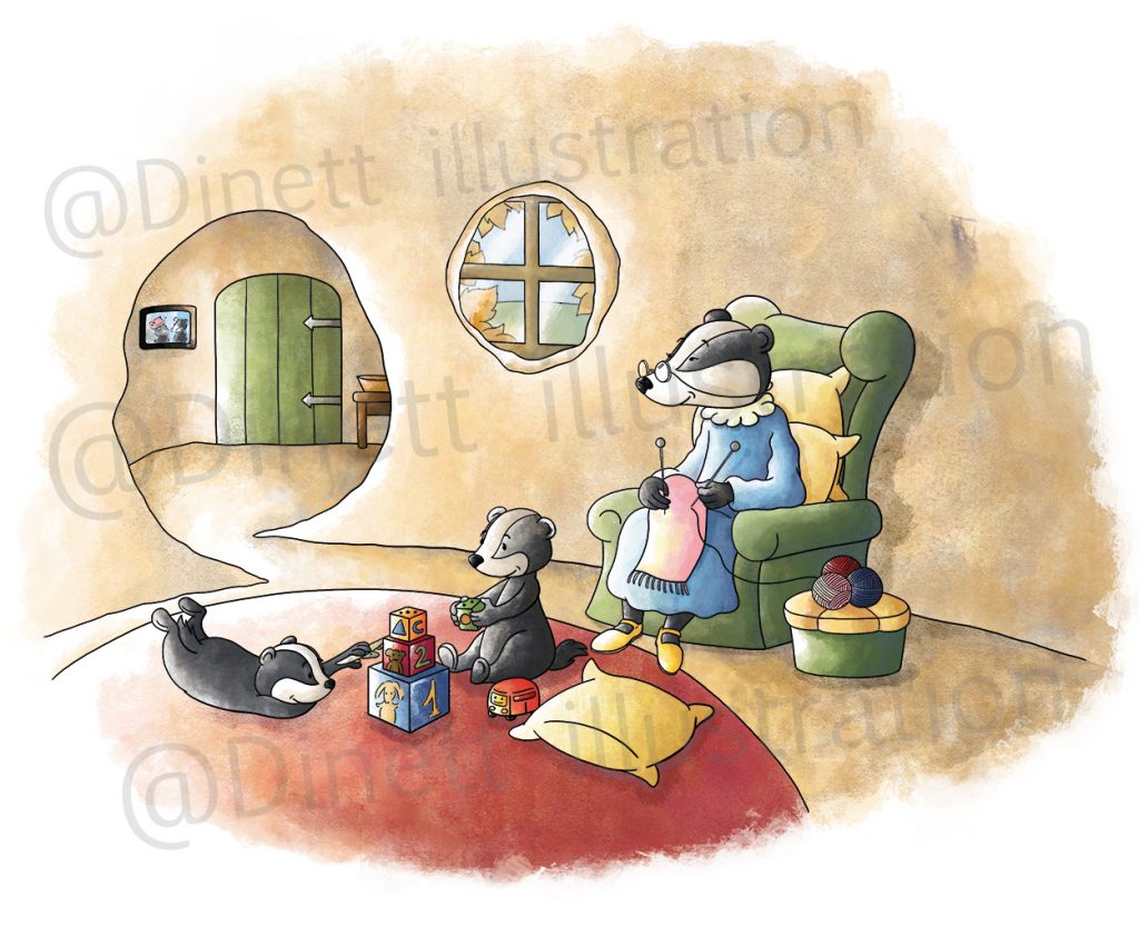 Illustration famille de blaireau