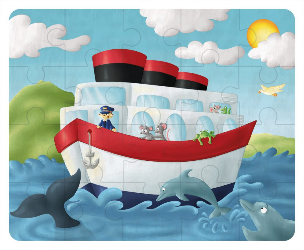 Illustration Puzzle en bois - le bateau