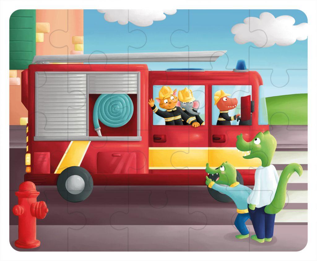Illustration Puzzle en bois - le camion de pompier