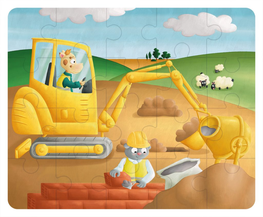 Illustration Puzzle en bois - le chantier