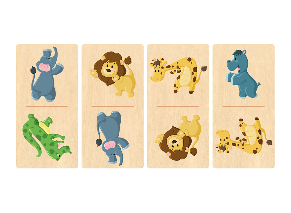 Illustration de jeu de dominos animalier