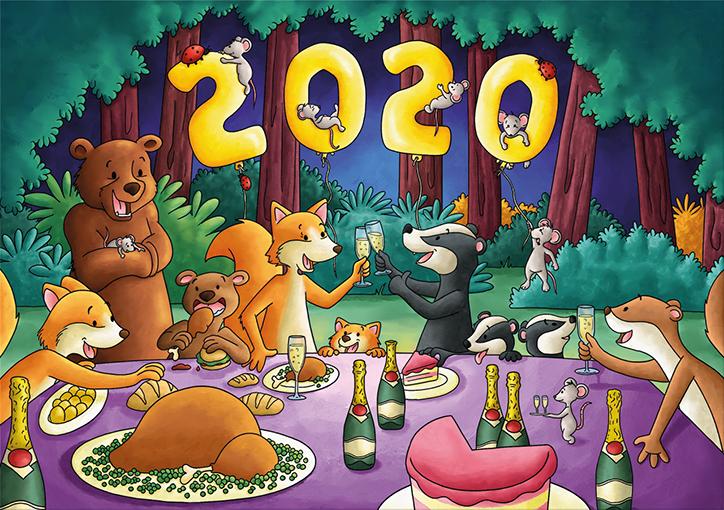 Carte de bonne année 2020, carte de voeux