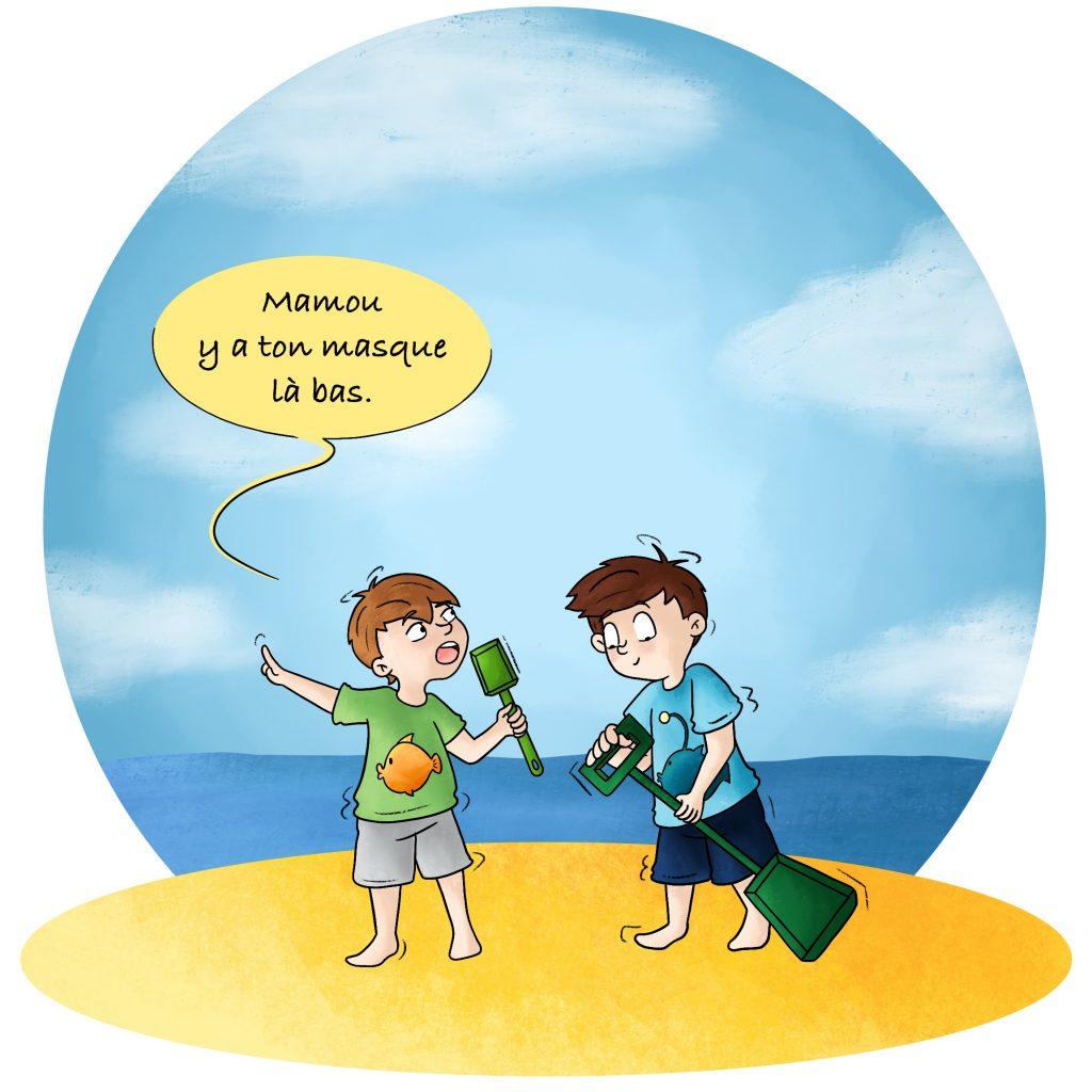 Illustration jouer sur la plage