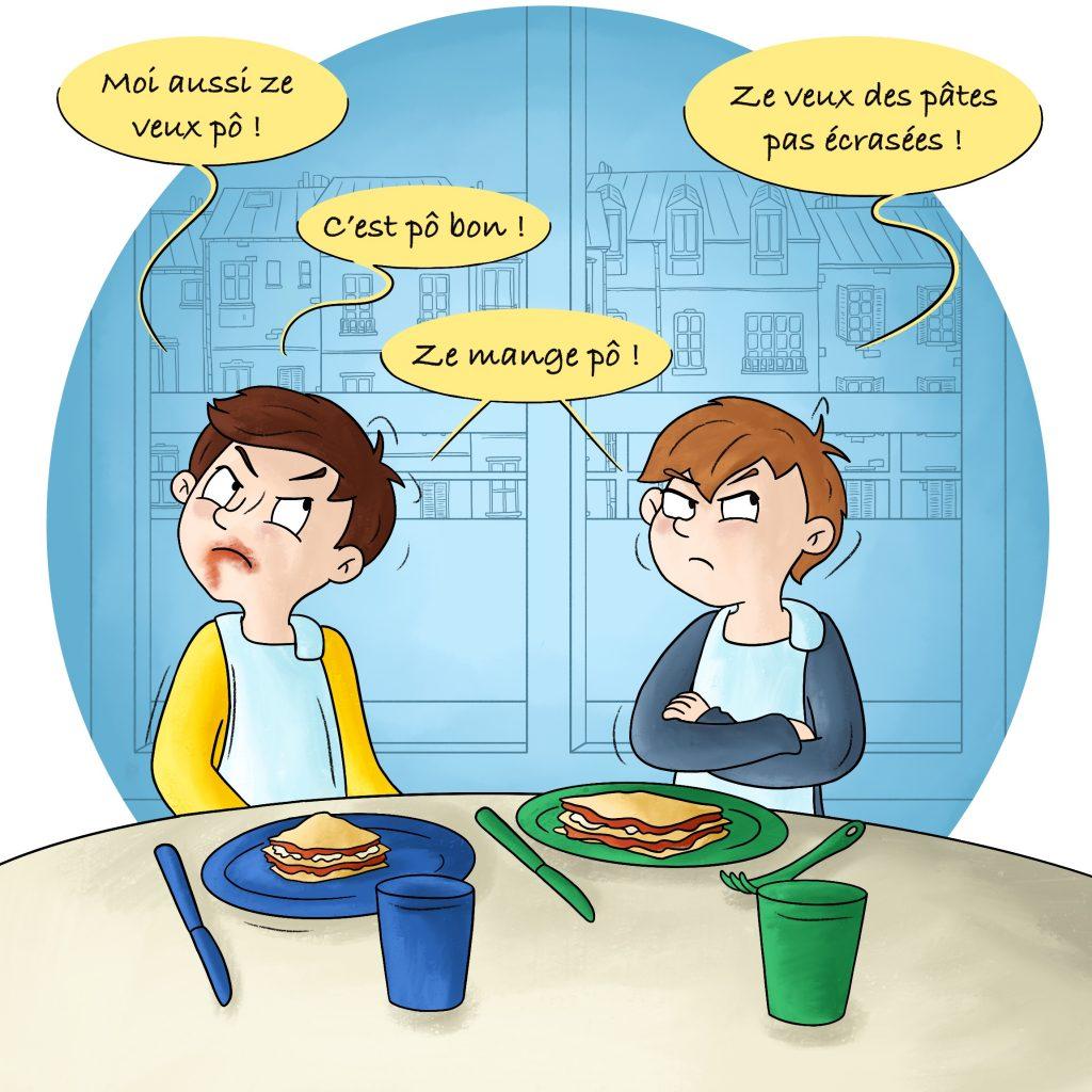 La difficulté de donner à manger à des jumeaux Illustration