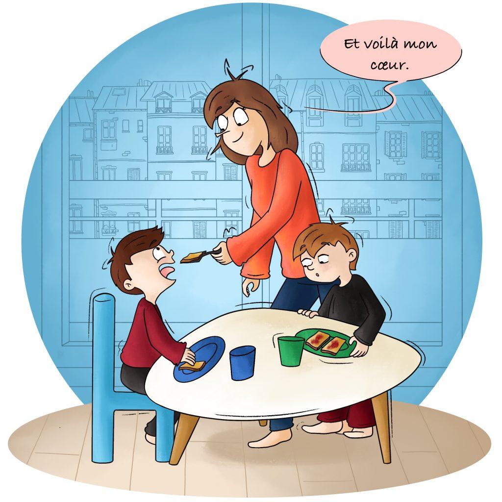 Illustration prendre le petit déjeuner en famille