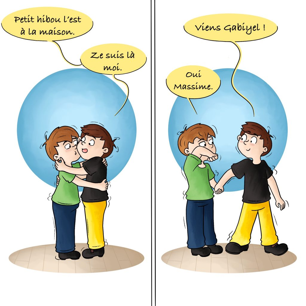 Illustration premier jour d'école Entraide jumeaux