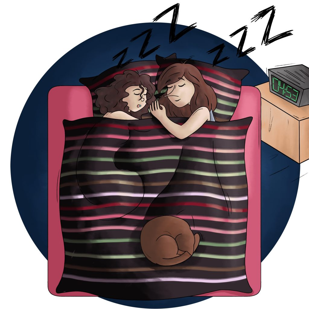 Essayer de dormir à 2 avec son chat