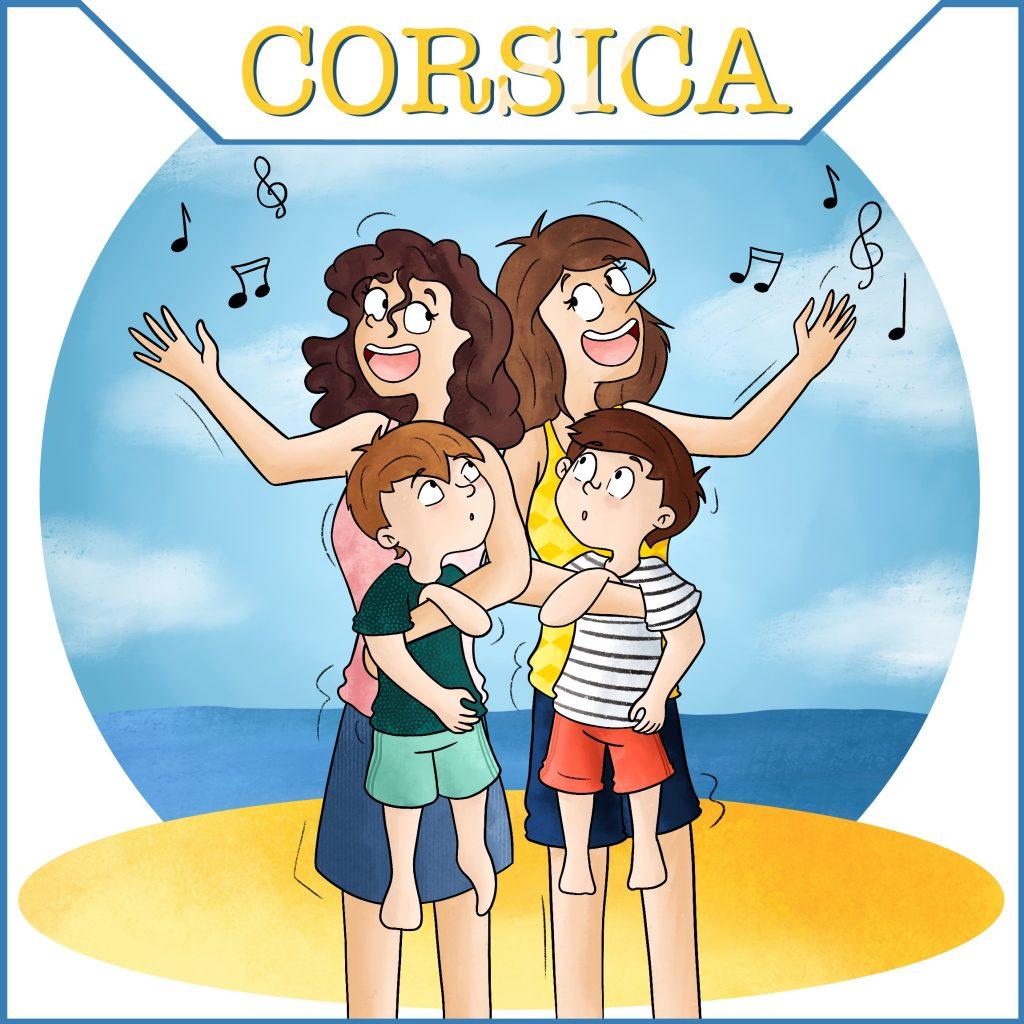 Deux mamans et leur jumeaux en vacances en Corse