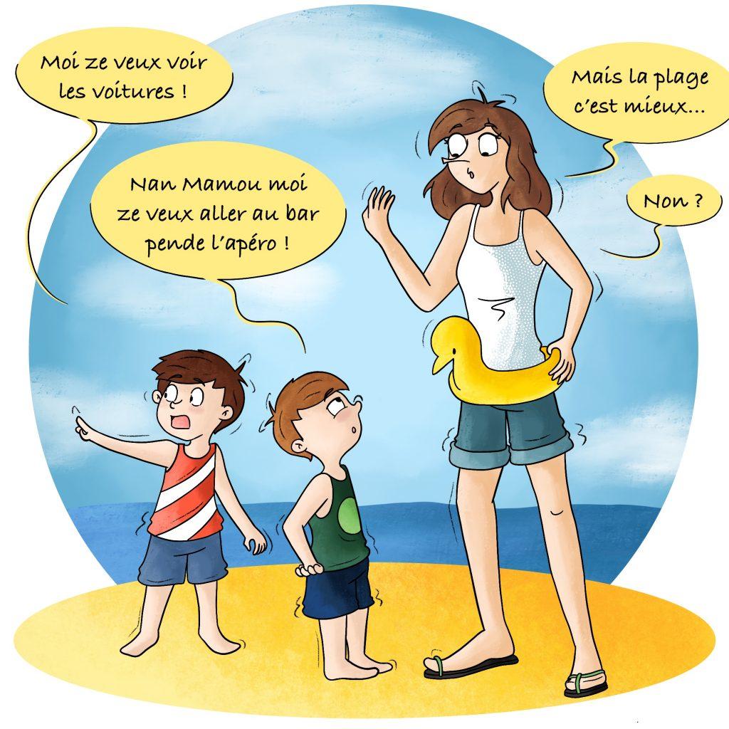 Les enfants qui préfèrent regarder les voitures plutôt qu'aller à la plage