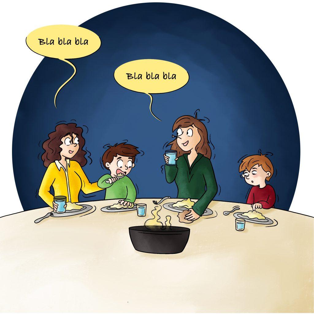 Illustration manger en famille