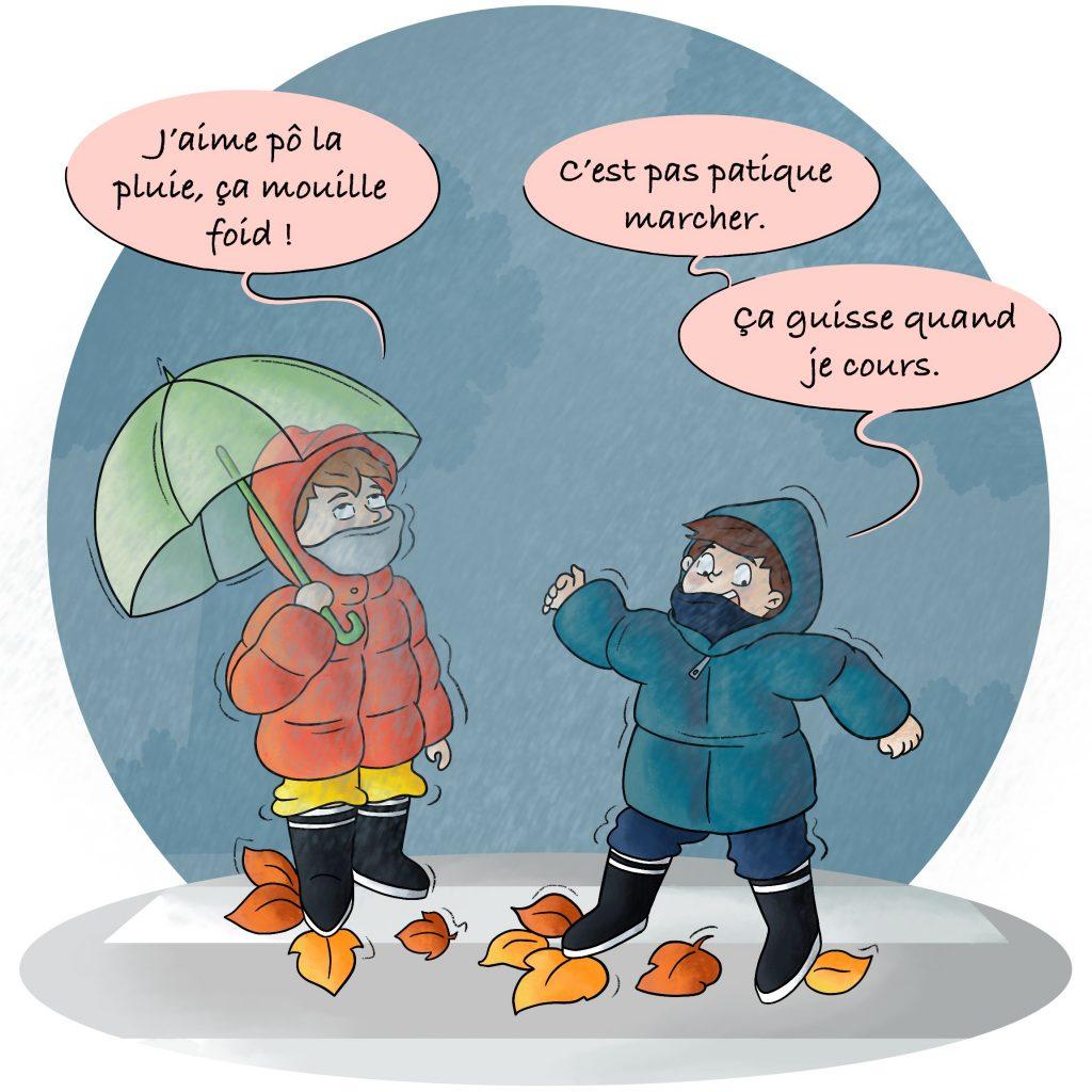 Illustration les enfants jouent sous la pluie