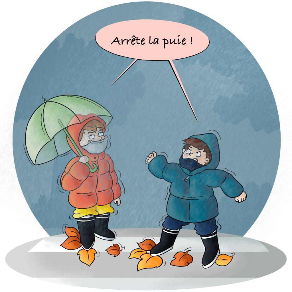 Enfants n'aiment pas la pluie