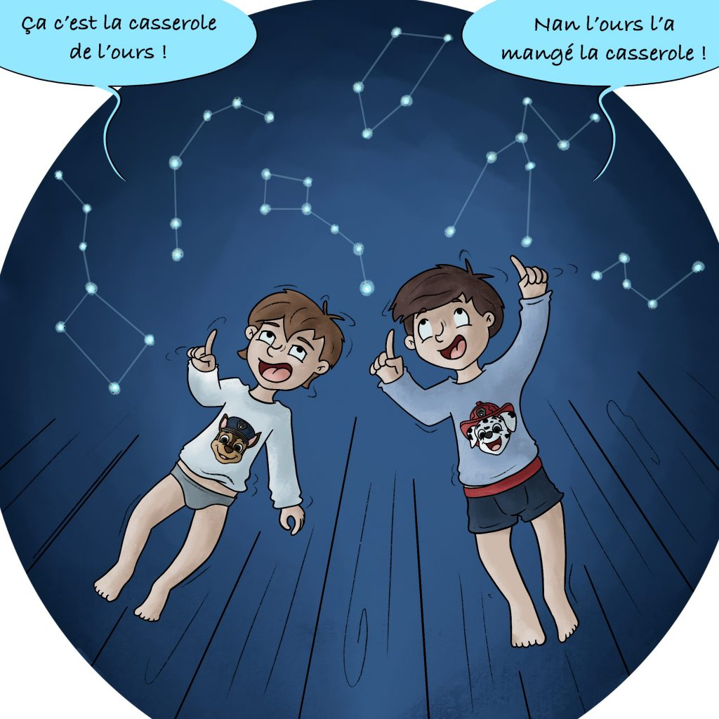 Illustration regarder les étoiles