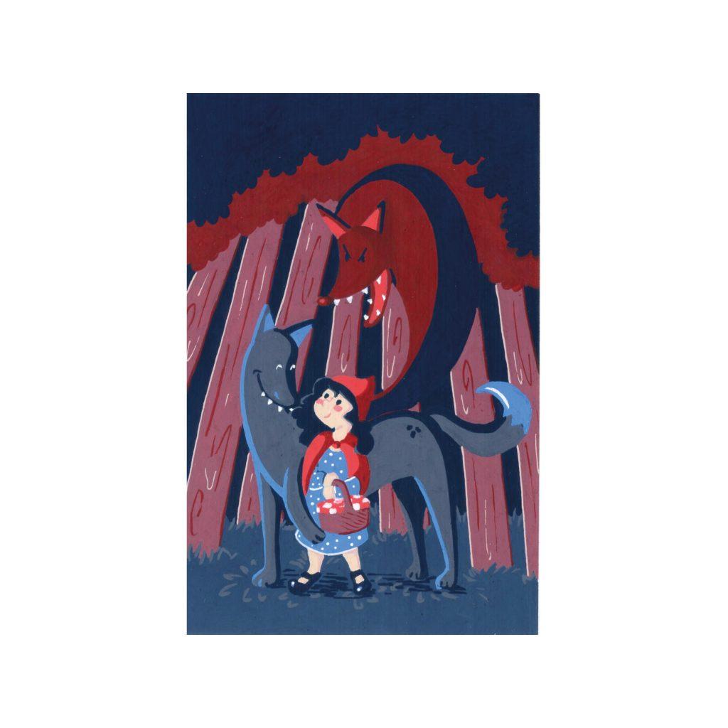Peinture aux Posca Le petit chaperon rouge