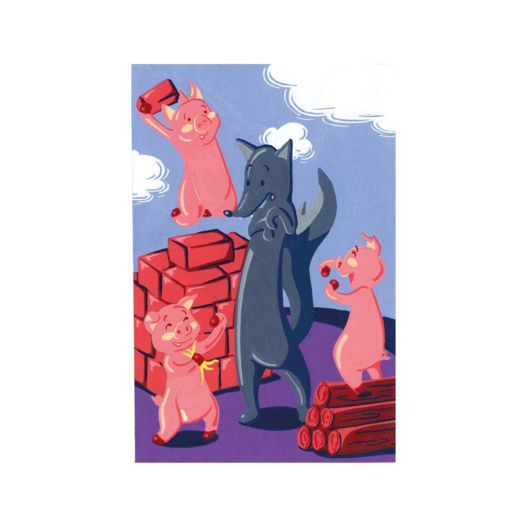 Peinture aux Posca Les trois petits cochons